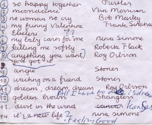 Tanneke's lijstje met de nummers op de cd